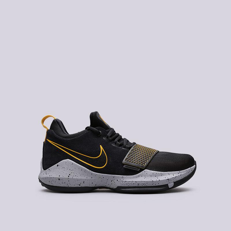 Кроссовки Nike PG 1Кроссовки баскетбольные<br>Кожа, текстиль, пластик, резина<br><br>Цвет: Черный<br>Размеры US: 8.5<br>Пол: Мужской