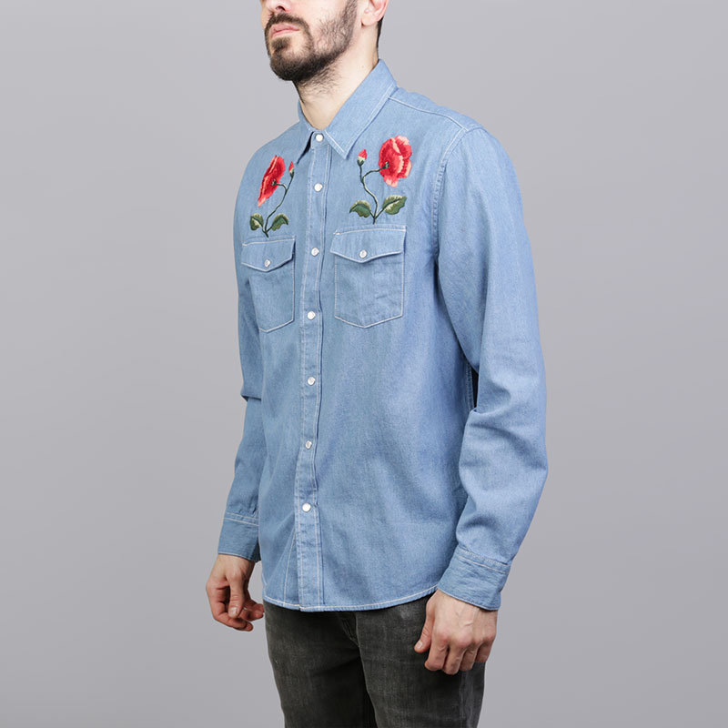 Рубашка Stussy Poppy Denim ShirtПоло рубашки<br>Хлопок<br><br>Цвет: Синий<br>Размеры US: S;L;XL;2XL<br>Пол: Мужской