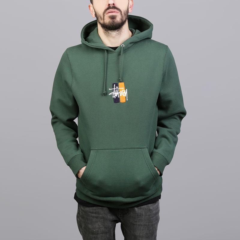 Толстовка Stussy Bars Logo App. HoodТолстовки свитера<br>Хлопок, полиэстер<br><br>Цвет: Зелёный<br>Размеры US: S;M;L;XL<br>Пол: Мужской