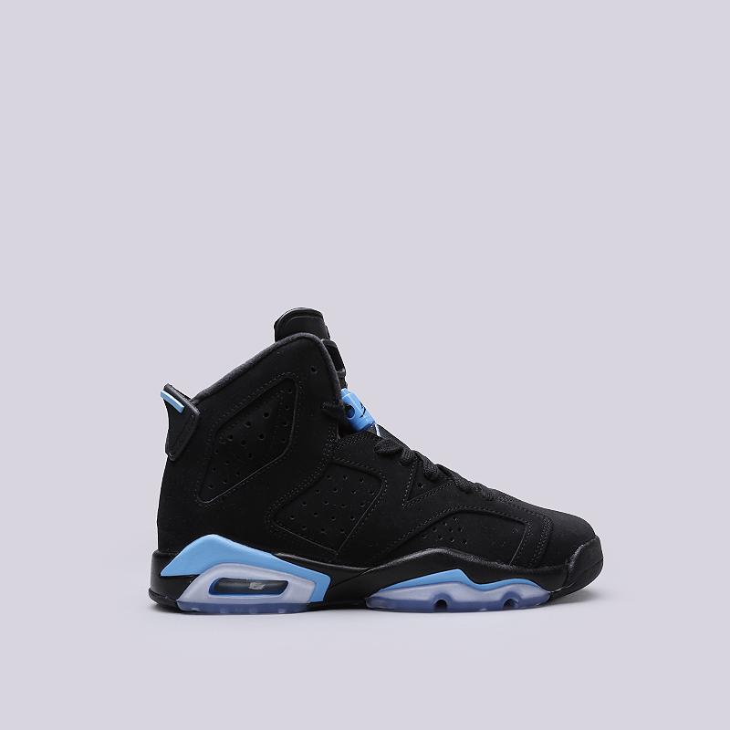 Кроссовки Jordan VI Retro BGКроссовки lifestyle<br>Кожа, синтетика, текстиль, резина<br><br>Цвет: Черный, синий<br>Размеры US: 4Y<br>Пол: Женский