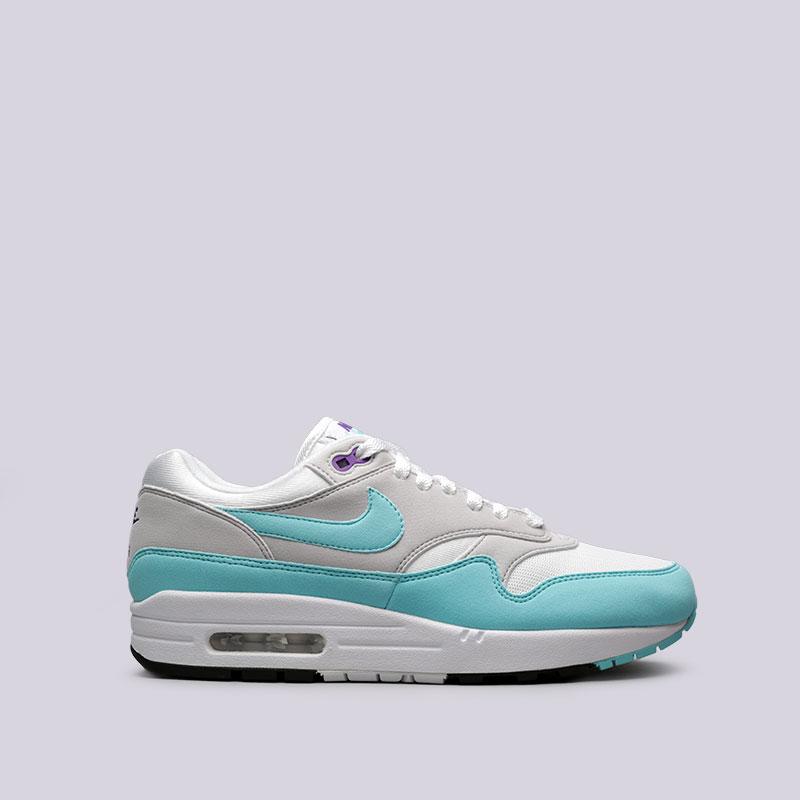 Кроссовки Nike Air Max 1 AnniversaryКроссовки lifestyle<br>Текстиль, резина<br><br>Цвет: Белый, голубой<br>Размеры US: 7.5;8;8.5;9;9.5;10;10.5;11;11.5;12;13<br>Пол: Мужской