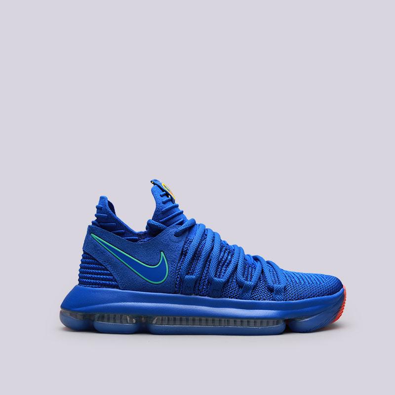 Кроссовки Nike Zoom KD 10Кроссовки баскетбольные<br>Текстиль, резина<br><br>Цвет: Синий<br>Размеры US: 8;9;9.5;11;12<br>Пол: Мужской