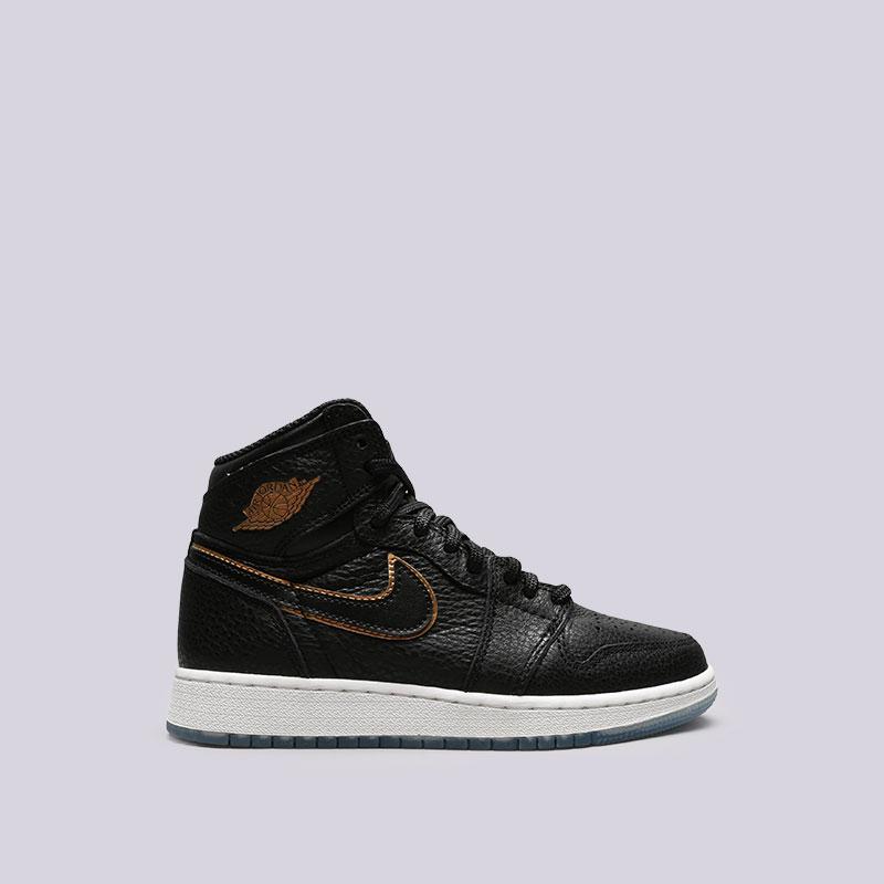 Кроссовки Jordan 1 Retro High OG BGКроссовки lifestyle<br>Кожа, синтетика, текстиль, резина<br><br>Цвет: Черный<br>Размеры US: 3.5Y;4.5Y;4Y;5.5Y;5Y;6.5Y;6Y;7Y<br>Пол: Женский