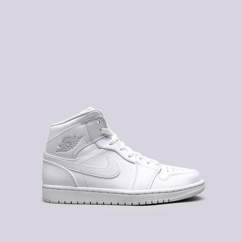 Кроссовки Jordan 1 MidКроссовки lifestyle<br>Кожа, синтетика, текстиль, резина<br><br>Цвет: Белый<br>Размеры US: 11;12;8.5<br>Пол: Мужской