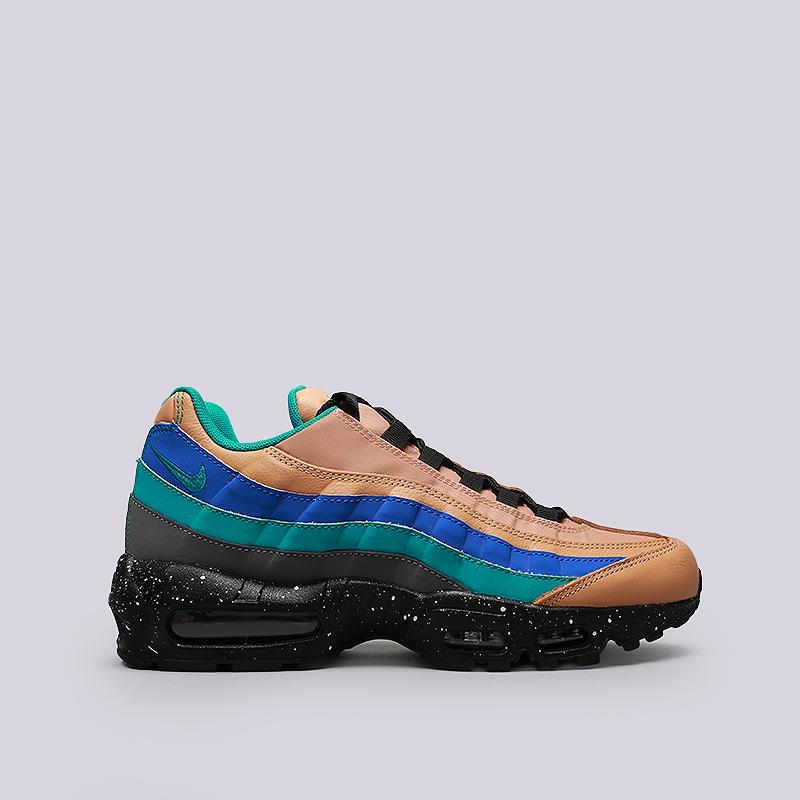 Кроссовки Nike Air Max 95 PRMКроссовки lifestyle<br>Кожа, синтетика, текстиль, резина<br><br>Цвет: Бежевый, синий, черный<br>Размеры US: 8;8.5;9;9.5;10;10.5;11;11.5;12<br>Пол: Мужской