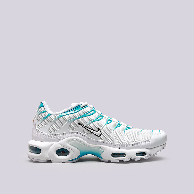 Кроссовки Nike Air Max PlusКроссовки lifestyle<br>Текстиль, резина<br><br>Цвет: Белый, голубой<br>Размеры US: 8;8.5;9.5;10;10.5;11;11.5;12<br>Пол: Мужской