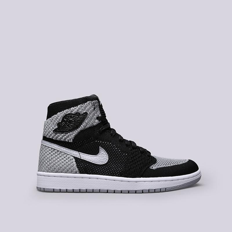 Кроссовки Jordan 1 Retro Hi FlyknitКроссовки lifestyle<br>Кожа, текстиль, резина<br><br>Цвет: Черный, серый<br>Размеры US: 8;8.5;9;9.5;10;10.5;11;11.5;12<br>Пол: Мужской