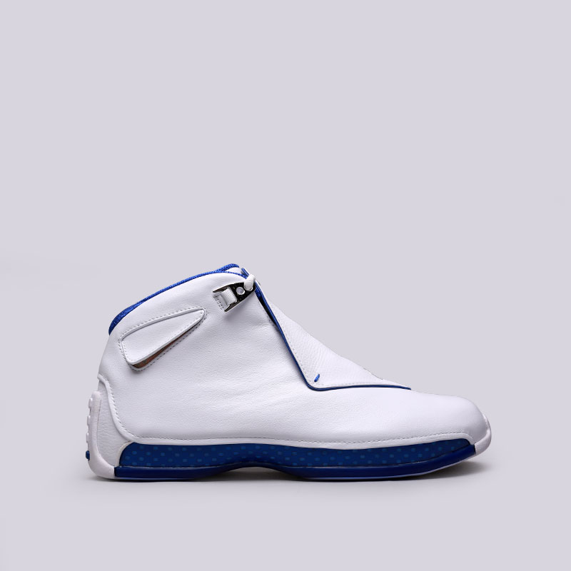 Кроссовки Jordan XVIII RetroКроссовки баскетбольные<br>Кожа, синтетика, текстиль, резина<br><br>Цвет: Белый<br>Размеры US: 9.5;10;11<br>Пол: Мужской