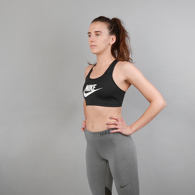 Топ Nike CLASSIC SWOOSH FUTURAБелье<br>Полиэстер, эластан<br><br>Цвет: Черный<br>Размеры US: XS;S;M;L<br>Пол: Женский