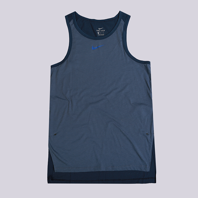 Майка Nike Breathe EliteБезрукавки<br>75% полиэстер, 13% хлопок, 12% вискоза<br><br>Цвет: Синий<br>Размеры US: S;M;L;XL;2XL<br>Пол: Мужской