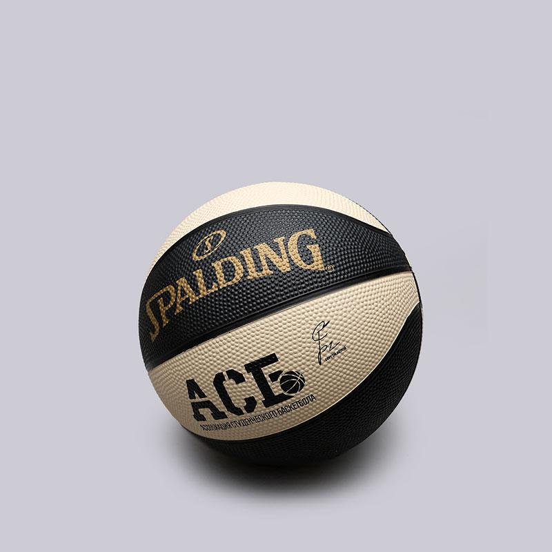 Мяч Spalding ACB GB ReplicaМячи<br>Резина<br><br>Цвет: Чёрный, бежевый<br>Размеры US: 3