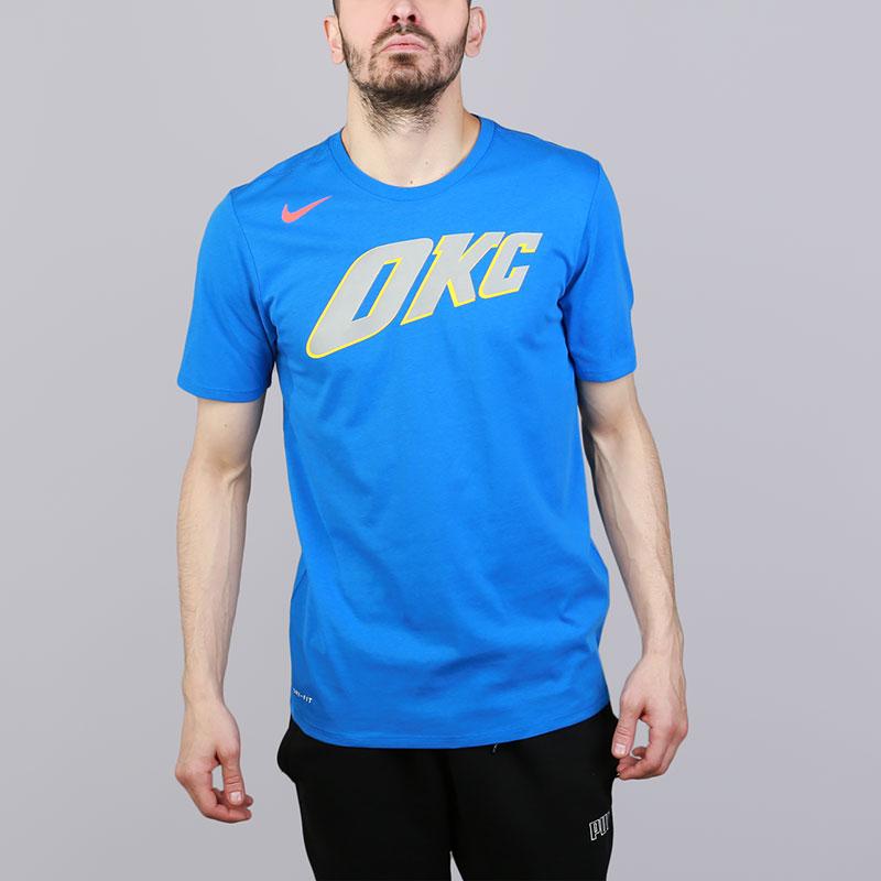 Футболка Nike Oklahoma City Thunder City EditionФутболки<br>Хлопок, полиэстер<br><br>Цвет: Синий<br>Размеры US: S;M;L;XL;2XL<br>Пол: Мужской