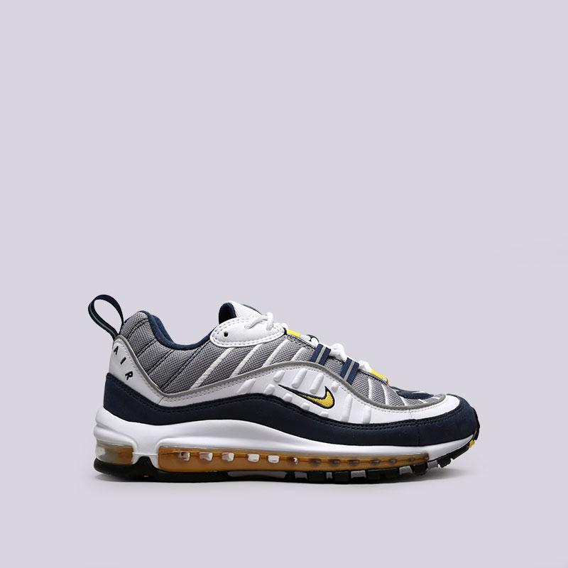 Кроссовки Nike Air Max 98Кроссовки lifestyle<br>Текстиль, синтетика, резина, пластик<br><br>Цвет: Серый, белый, синий<br>Размеры US: 8;8.5;9.5;10;10.5;11.5;12<br>Пол: Мужской