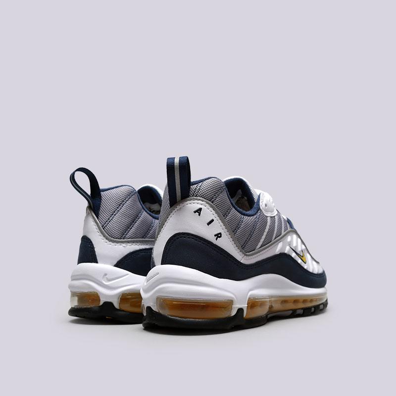 Купить мужские серые, белые, синие  кроссовки nike air max 98 в магазинах Streetball изображение - 3 картинки