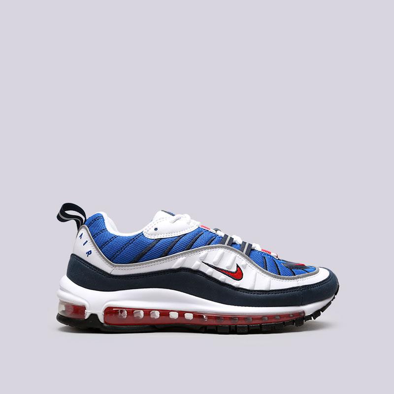 Кроссовки Nike Air Max 98Кроссовки lifestyle<br>Текстиль, синтетика, резина, пластик<br><br>Цвет: Белый, синий<br>Размеры US: 8.5;11.5;12<br>Пол: Мужской