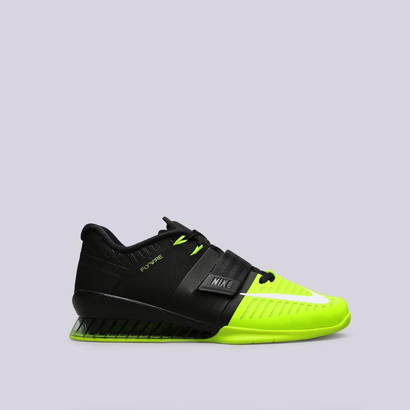 Купить мужские чёрные, салатовые  кроссовки nike romaleos 3 в магазинах Streetball изображение - 1 картинки
