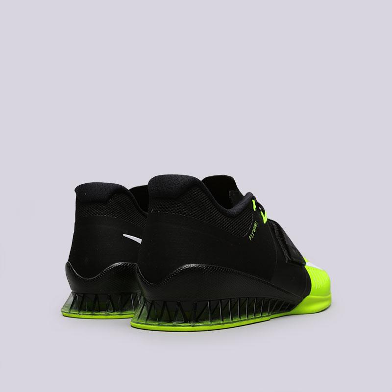 Купить мужские чёрные, салатовые  кроссовки nike romaleos 3 в магазинах Streetball изображение - 4 картинки