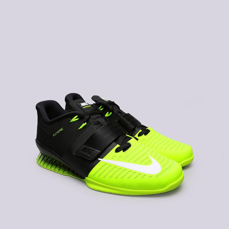 Купить мужские чёрные, салатовые  кроссовки nike romaleos 3 в магазинах Streetball изображение - 3 картинки