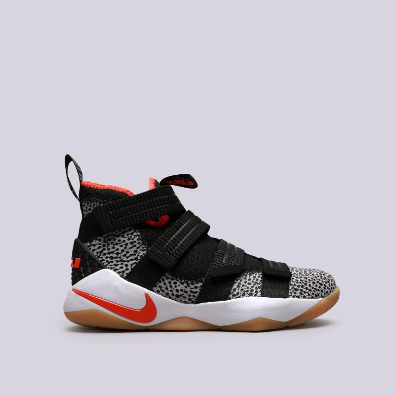Кроссовки Nike Lebron Soldier XI SFGКроссовки баскетбольные<br>Кожа, текстиль, резина<br><br>Цвет: Черный<br>Размеры US: 8;8.5;9;9.5;10;10.5;11;11.5;12;13;13.5<br>Пол: Мужской