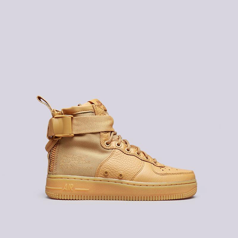 Кроссовки Nike WMNS SF Air Force 1 MidКроссовки lifestyle<br>Кожа, текстиль, резина<br><br>Цвет: Коричневый<br>Размеры US: 6;6.5;7;7.5;8;8.5<br>Пол: Женский