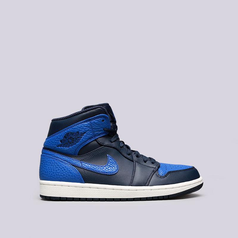 Кроссовки Jordan 1 MidКроссовки lifestyle<br>Кожа, синтетика, текстиль, резина<br><br>Цвет: Синий<br>Размеры US: 8;8.5;10.5<br>Пол: Мужской
