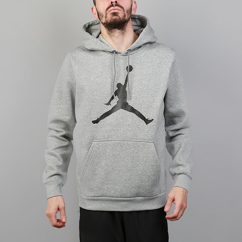 Футболка Jordan Flight Fleece JumpmanТолстовки свитера<br>80% хлопок, 20% полиэстер<br><br>Цвет: Серый<br>Размеры US: S;M;L;XL;2XL<br>Пол: Мужской