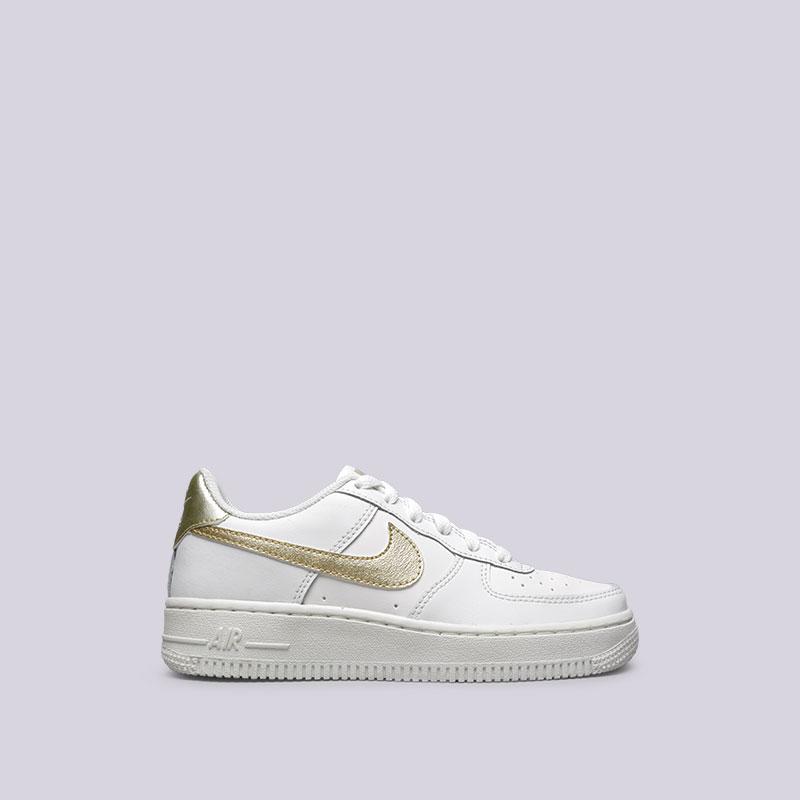 Кроссовки Nike Air Force 1 GSКроссовки lifestyle<br>Кожа, синтетика, текстиль, резина<br><br>Цвет: Белый<br>Размеры US: 3.5Y;4.5Y;4Y;5.5Y;5Y;6Y<br>Пол: Женский