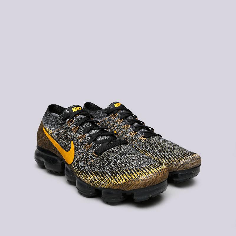 Купить мужские чёрные, серые, жёлтые  кроссовки nike air vapormax flyknit в магазинах Streetball изображение - 3 картинки