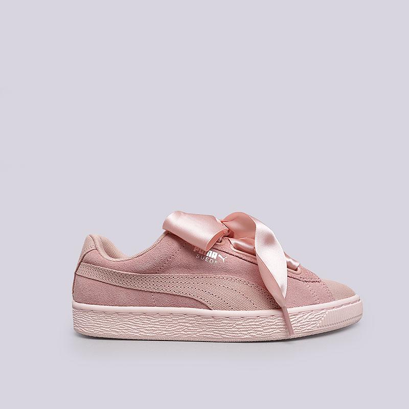 dfb4c70ff8c4 женские розовые кроссовки puma suede heart pebble wn s 36521001 - цена,  описание, фото 1