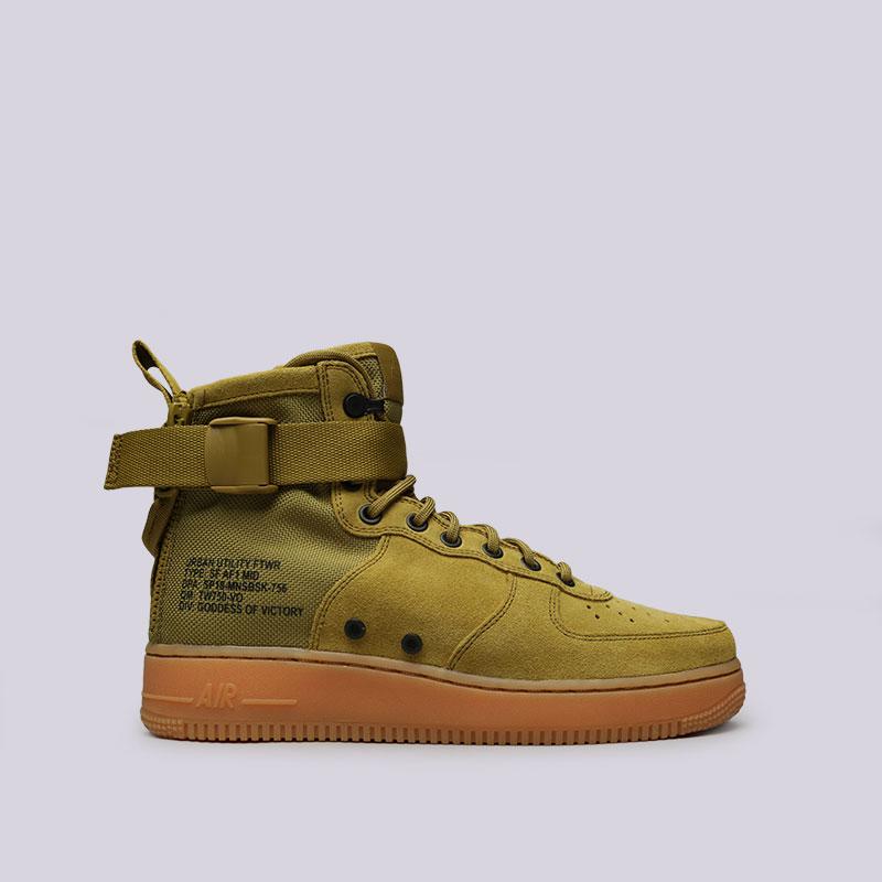 Кроссовки Nike SF Air Force 1 MidКроссовки lifestyle<br>Кожа, текстиль, резина<br><br>Цвет: Зелёный<br>Размеры US: 8<br>Пол: Мужской