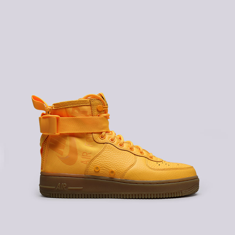 Кроссовки Nike SF Air Force 1 MidКроссовки lifestyle<br>Кожа, текстиль, резина<br><br>Цвет: Жёлтый<br>Размеры US: 10.5;11.5;12<br>Пол: Мужской
