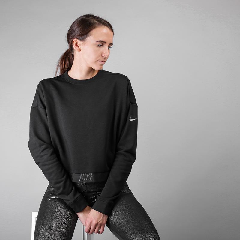 Толстовка Nike Dry CrewТолстовки свитера<br>Полиэстер, вискоза<br><br>Цвет: Черный<br>Размеры US: S;M;L<br>Пол: Женский