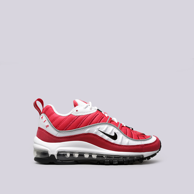 Кроссовки Nike WMNS Air Max 98Кроссовки lifestyle<br>Текстиль, синтетика, резина, пластик<br><br>Цвет: Красный<br>Размеры US: 5;6;6.5;7;7.5;8;8.5<br>Пол: Женский