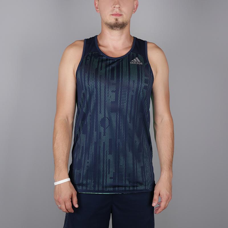 мужскую синюю, голубую  безрукавку adidas elec rev tank CV6647 - цена, описание, фото 1
