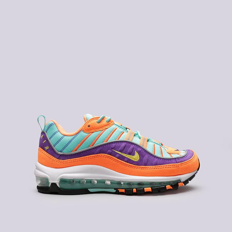 Кроссовки Nike Air Max 98 QSКроссовки lifestyle<br>Кожа, текстиль, резина, пластик<br><br>Цвет: Оранжевый, фиолетовый, мятный<br>Размеры US: 6.5;7.5;9.5;10;10.5