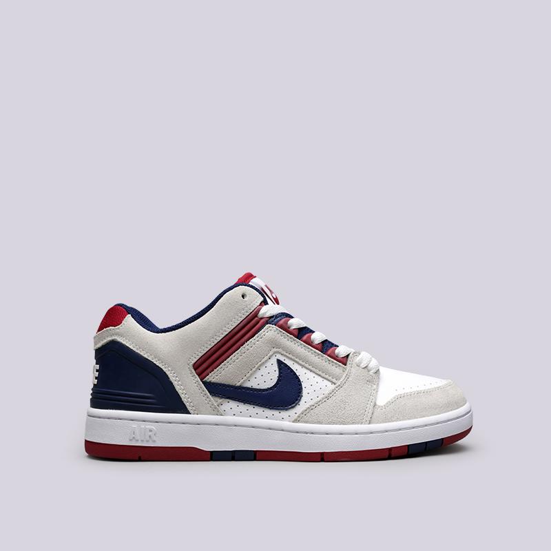 Кроссовки Nike SB Air Force II LowКроссовки lifestyle<br>Кожа, синтетика, текстиль, резина<br><br>Цвет: Белый<br>Размеры US: 10.5;8.5;9<br>Пол: Мужской