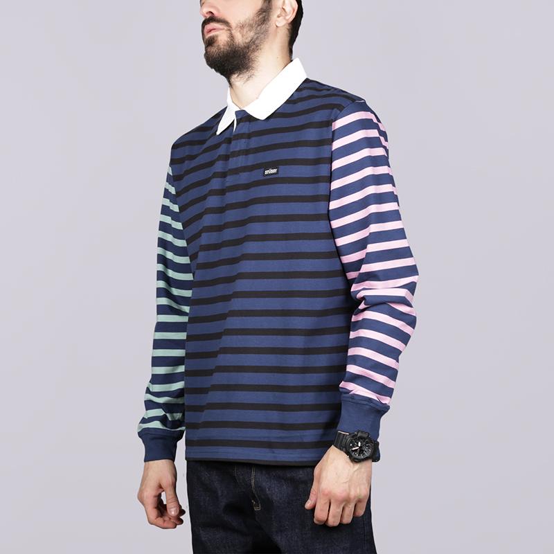 Поло Stussy Jonah Stripe LSПоло рубашки<br>Хлопок<br><br>Цвет: Синий<br>Размеры US: S;M;L;XL<br>Пол: Мужской