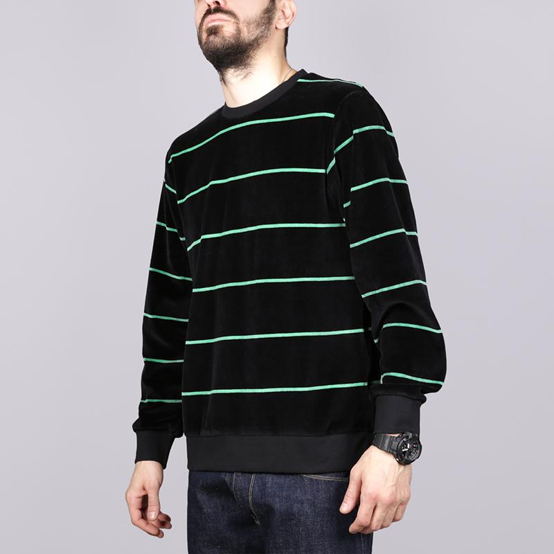 Лонгслив Stussy Striped Velour CrewФутболки<br>Хлопок, полиестер<br><br>Цвет: Чёрный<br>Размеры US: M;L;XL<br>Пол: Мужской