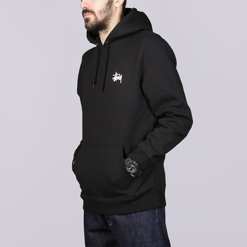 Толстовка Stussy Basic Stussy HoodТолстовки свитера<br>Хлопок, полиестер<br><br>Цвет: Чёрный<br>Размеры US: S;M;L<br>Пол: Мужской