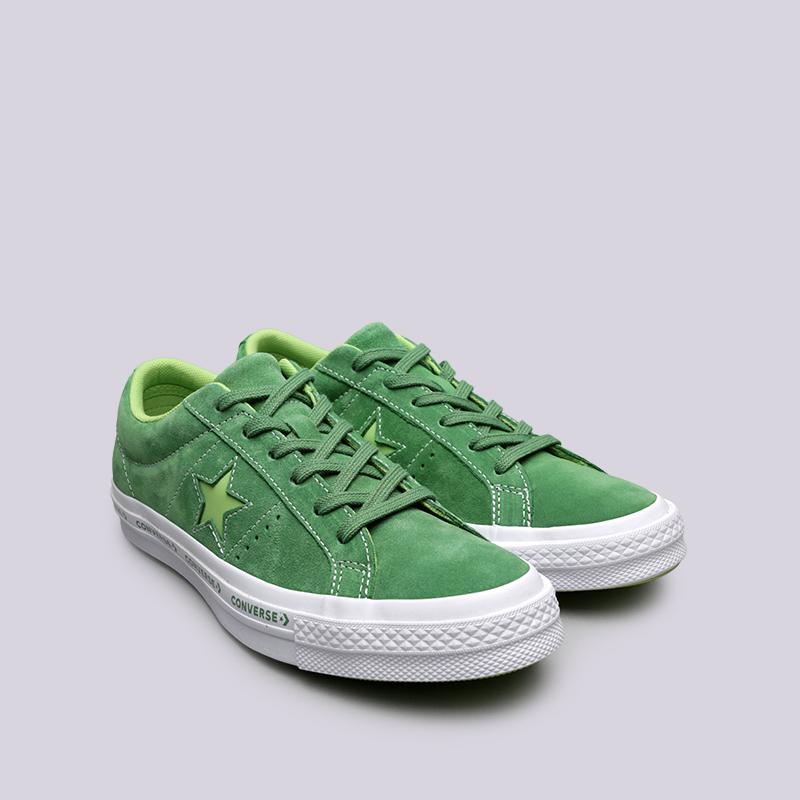 зелёные  кроссовки converse one star ox 159816 - цена, описание, фото 3