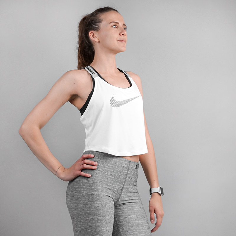 Майка Nike Dri-FIT Elastika CroppedФутболки<br>Полиэстер<br><br>Цвет: Белый<br>Размеры US: L;XS<br>Пол: Женский