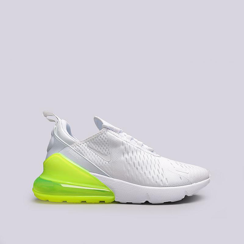 Кроссовки Nike Air Max 270Кроссовки lifestyle<br>Теккстиль, резина, пластик<br><br>Цвет: Белый, салатовый<br>Размеры US: 7.5;8;9;9.5;10;10.5