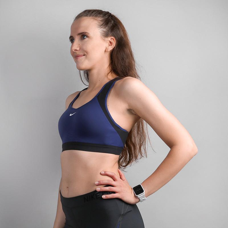 женский синий  топ nike high support sports bra 888575-429 - цена, описание, фото 2