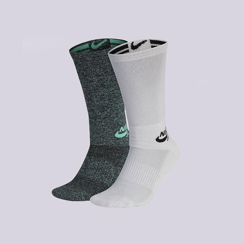 Носки Nike SB Skateboarding Crew Socks (2 Pair)Носки<br>Хлопок, полиэстер, нейлон, эластан<br><br>Цвет: Зеленый, белый<br>Размеры US: L<br>Пол: Мужской