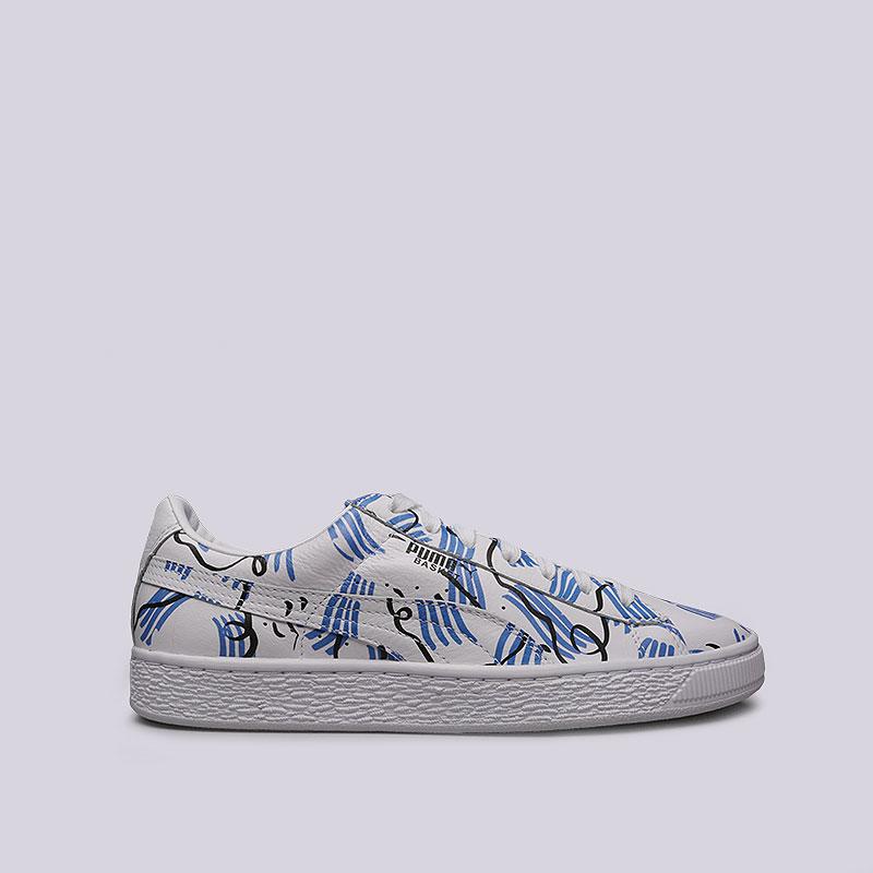 белые, синие кроссовки puma basket sm 36589901 - цена, описание, фото 1 5ef84319304