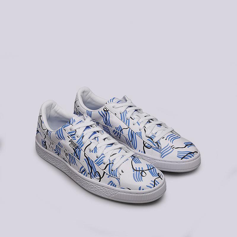 белые, синие кроссовки puma basket sm 36589901 - цена, описание, фото 2 74f80bcc412