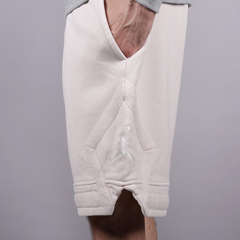 мужские бежевые  шорты jordan jsw washed diamond fleece 939960-072 - цена, описание, фото 4