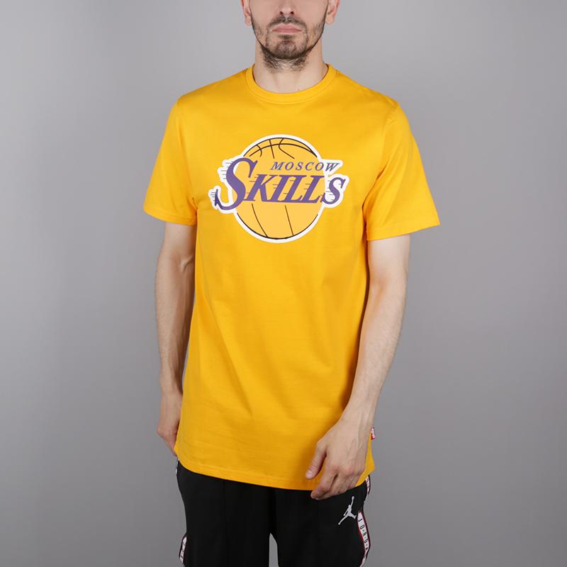 мужскую жёлтую  футболка skills la Los Angeles gold - цена, описание, фото 1