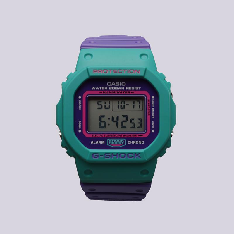 голубые, фиолетовые  часы casio g-shock dw-5600tb DW-5600TB-6E - цена, описание, фото 1