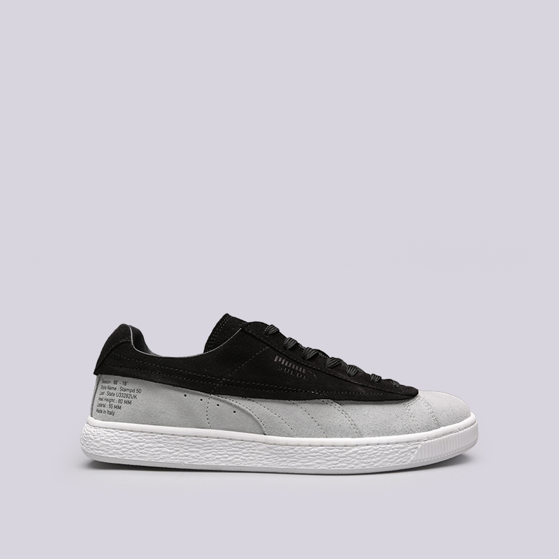 мужские чёрные, серые  кроссовки puma suede classic x stampd 36632701 - цена, описание, фото 1